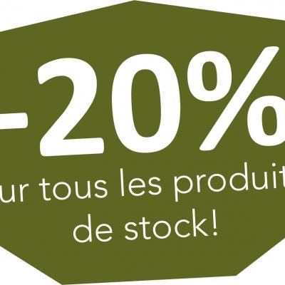 -20% sur tous nos produits en stock !